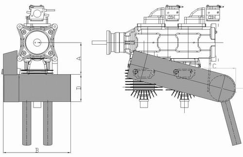 Pitts style muffler-inline engine